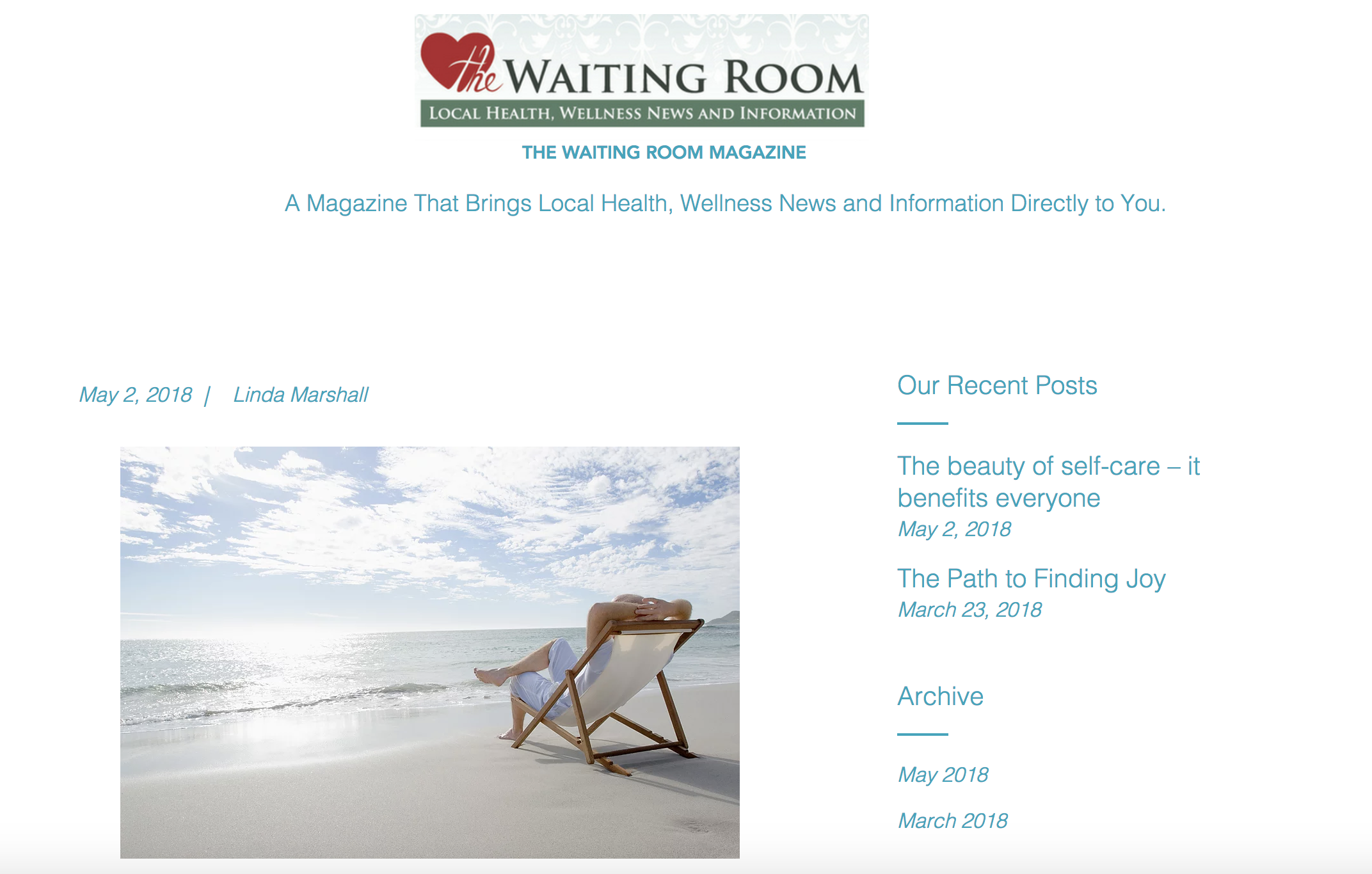 The Beauty of self-care - it benefits everyone, published in The Waiting Room
