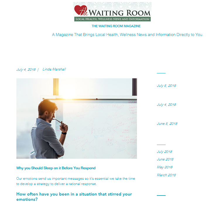 Why You Should Sleep on it Before You Respond, published in The Waiting Room Magazine