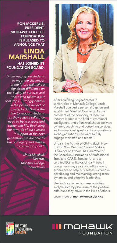 Linda Marshall Joins Mohawk College Foundation Board